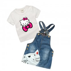 Ensemble jupe jean Hello Kitty de 0 à 6 ans