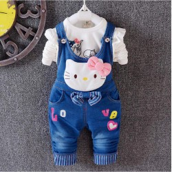 Ensemble salopette en jean Hello Kitty 2 à 5 ans