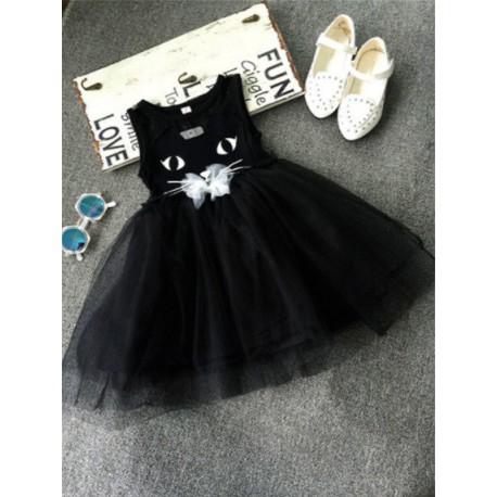 Robe noir chat pour fille de 2 à 6 ans