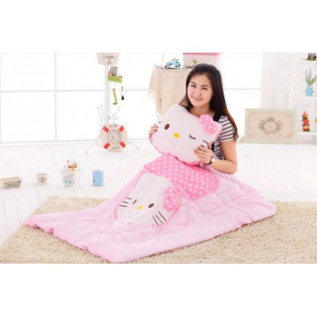 Couverture coussin type sac de couchage Hello Kitty