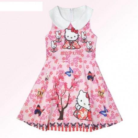 Robe élégante fleurie Hello Kitty de 3 à 8 ans très tendance