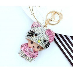 Porte-clés Strass Hello Kitty & Kiki Monchichi