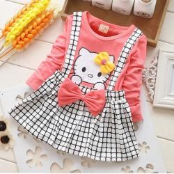 Robe style ecossais pour fille de 1 à 4ans Hello Kitty