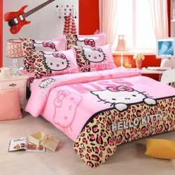 Hello kitty rose et leopard ensembles de literie