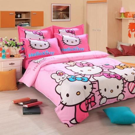 Hello kitty ensembles de literie avec housse de couette, drap de lit et  taie d'oreiller 2