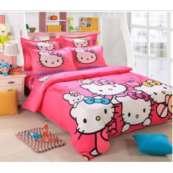 Hello kitty couleur rose flashy ensembles de literie