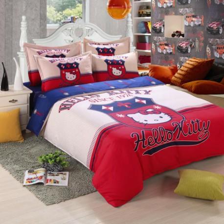 Hello kitty ensembles de literie avec housse de couette, drap de lit et  taie d'oreiller 4