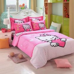 Hello kitty cœur rose bonbon ensembles de literie
