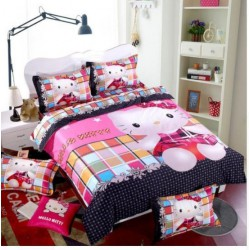 Hello kitty carreau multi-couleur ensembles de literie